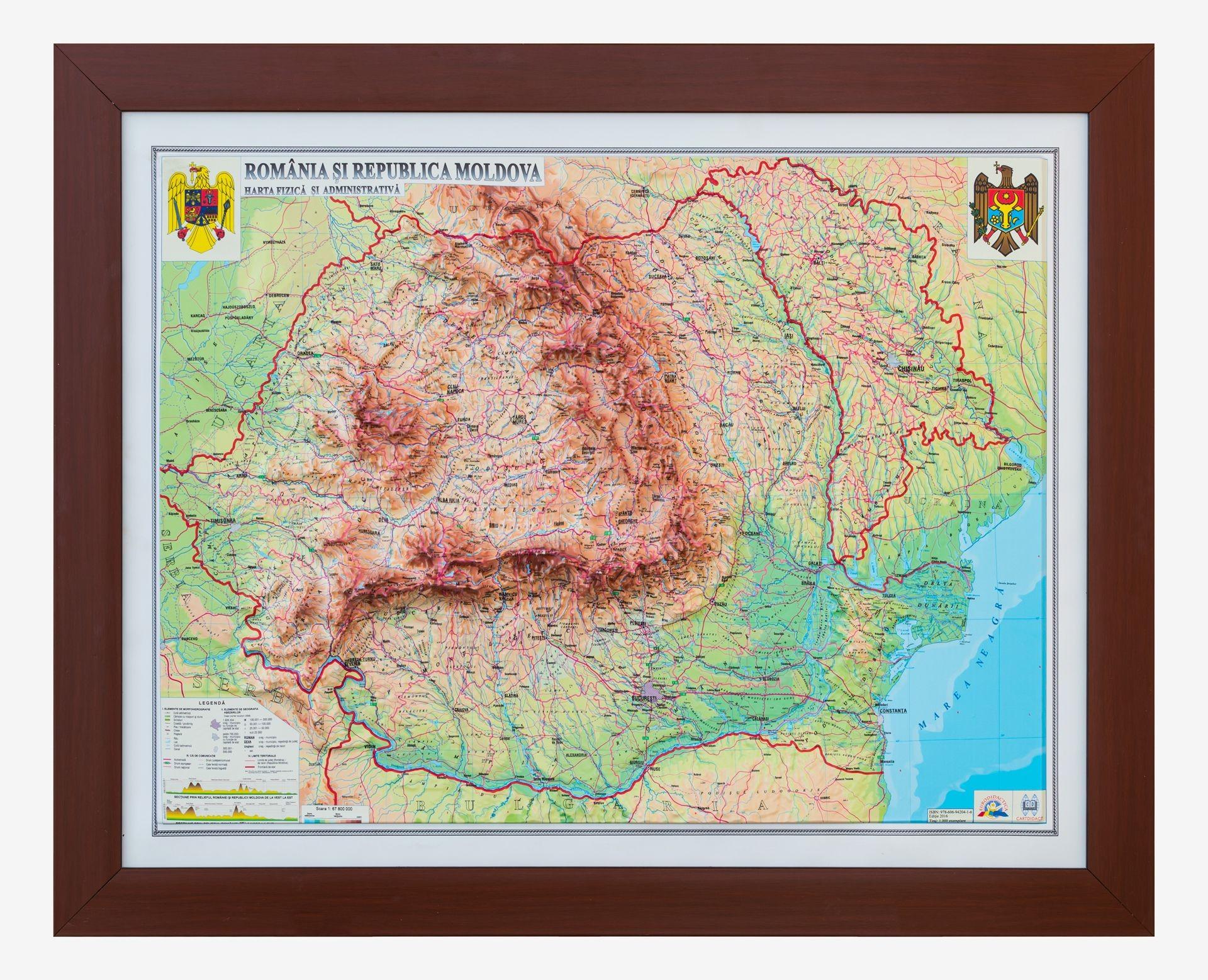 Romania Si Rep Moldova Harta Fizica Si Administrativa 3d 600x470
