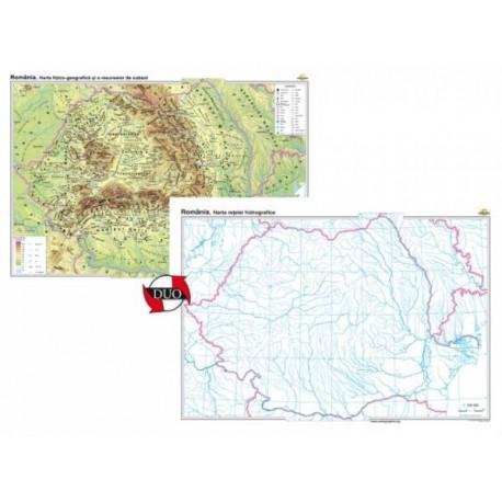 Romania. Harta fizico-geografica si a resurselor naturale de subsol - bilingv - DUO 100x70 cm