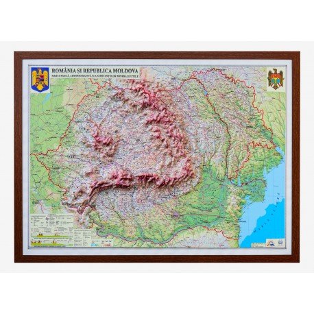 Romania si Rep. Moldova. Harta fizica, administrativa si a substantelor minerale utile 3D, 1000x700mm