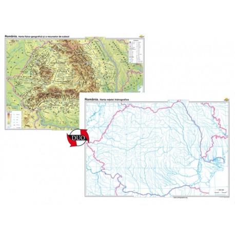 Romania. Harta fizico-geografica si a resurselor naturale de subsol - bilingv - DUO 140x100 cm
