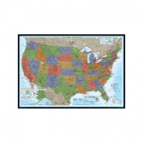 Hartă SUA politică decorativă National Geographic