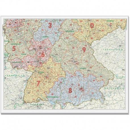 Harta codurilor poştale Germania de Sud 1:500.000 Bacher Verlag