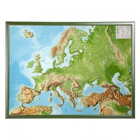 Georelief Harta Europei in relief mare, 3D, in cadru de lemn