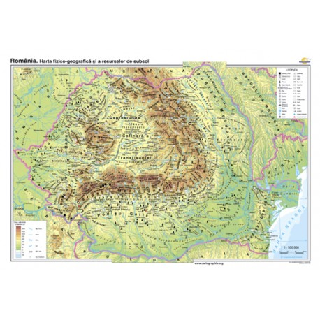 România. Harta fizico-geografică şi a resurselor naturale de subsol 140x100 cm