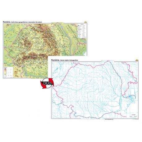 România. Harta fizico-geografică și a resurselor naturale de subsol Duo 160x120 cm
