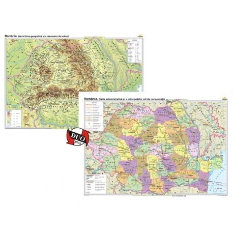 România. Harta fizico-geografică şi a resurselor naturale de subsol şi Harta administrativă şi a princip. căi de comunic.