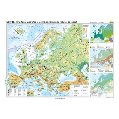 Europa. Harta fizico-geografică şi a principalelor resurse naturale de subsol 100x70 cm
