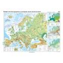 Europa. Harta fizico-geografica si a principalelor resurse naturale de subsol 100x70 cm