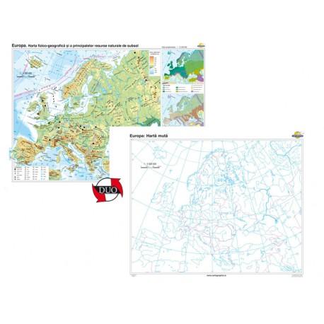 Europa. Harta fizico-geografică şi a principalelor resurse naturale de subsol – Duo 100x70 cm