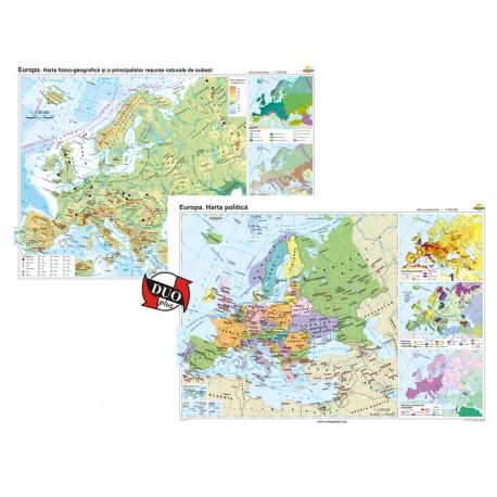 Europa. Harta fizico-geografică şi a principalelor resurse naturale de subsol şi Europa. Harta politică – Duo Plus 140x100 cm