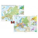 Europa. Harta fizico-geografica si a principalelor resurse naturale de subsol si Europa. Harta politica – Duo Plus 100x70 cm