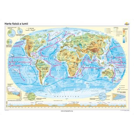Harta fizică a lumii 160x120 cm