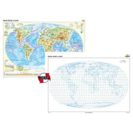 Harta fizică a Iumii – Duo 160x120 cm