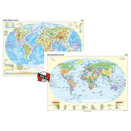 Harta fizică a lumii şi Harta politică a lumii – Duo Plus 140x100 cm