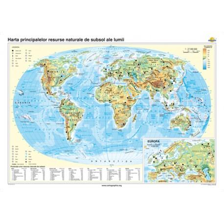 Harta principalelor resurse naturale de subsol ale lumii 140x100 cm