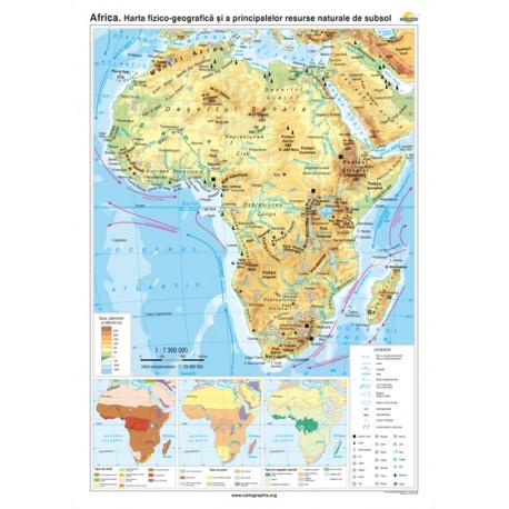 Africa. Harta fizico-geografică şi a principalelor resurse naturale de subsol 100x70 cm