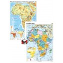 Africa. Harta fizico-geografica si a principalelor resurse naturale de subsol si Africa. Harta politica – Duo Plus 100x140 cm