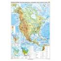 America de Nord. Harta fizico-geografica si a principalelor resurse naturale de subsol 70x100 cm