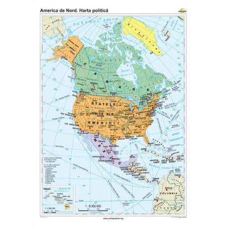 America de Nord. Harta politică 120x160 cm