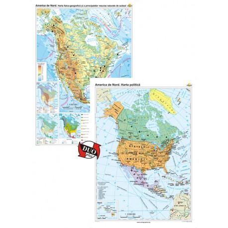 America de Nord. Harta fizico-geografică și a principalelor resurse naturale de subsol și America de Nord. Harta politică