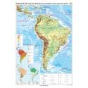 America de Sud. Harta fizico-geografica si a principalelor resurse naturale de subsol 70x100 cm