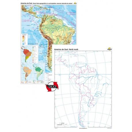 America de sud. Harta fizico-geografică şi a principalelor resurse naturale de subsol – Duo