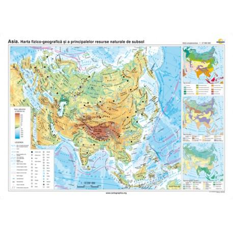 Asia. Harta fizico-geografică şi a principalelor resurse naturale de subsol 160X120 CM
