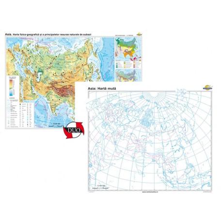 Asia. Harta fizico-geografică şi a principalelor resurse naturale de subsol – Duo 160x120 cm