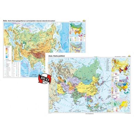 Asia. Harta fizico-geografică şi a principalelor resurse naturale de subsol şi Asia. Harta politică – Duo Plus