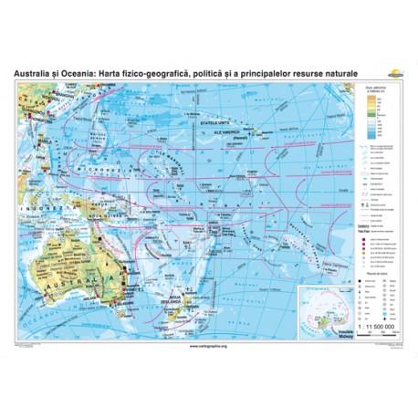 Australia şi Oceania. Harta fizico-geografică, politică şi a principalelor resurse naturale 160x120 cm