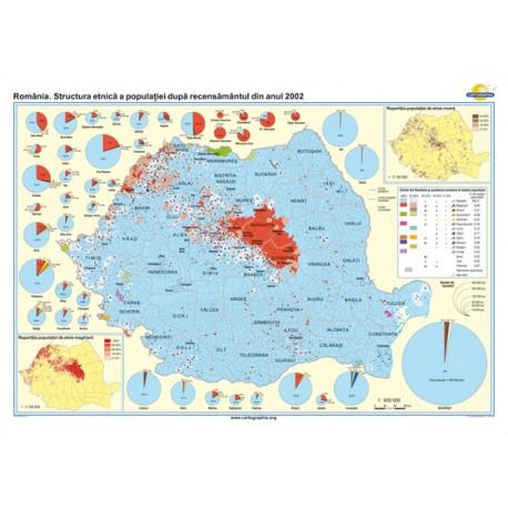 Romania. Structura etnica a populatiei dupa recensamantul din anul 2002 140x100 cm