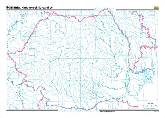 Romania Harta Retelei Hidrografice 140x100 Cm Geostore Ro