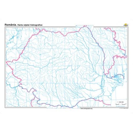 Romania. Harta retelei hidrografice 100x70 cm