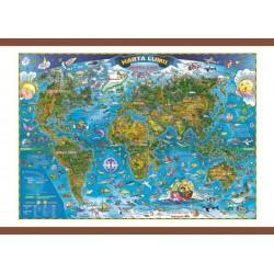 Harta lumii pentru copii 1000x700 mm