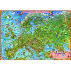 Europa. Harta desenata pentru copii fara sipci 1400x1000 mm