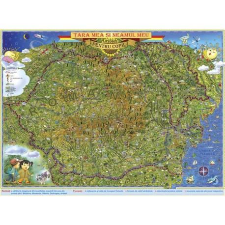 Tara mea si neamul meu. Harta pentru copii (fata)/harta de contur (verso)