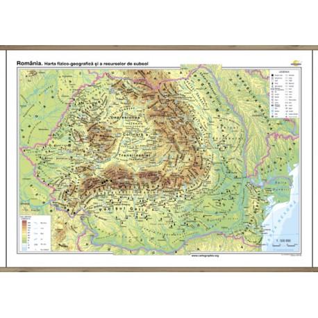 România. Harta fizico-geografică şi a resurselor naturale de subsol - bilingv 160x120 cm