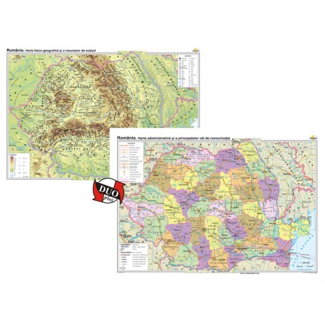 România. Harta fizico-geografică/România. Harta administrativa - bilingv - DUO PLUS 160x120 cm