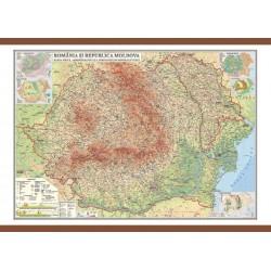 Romania si Republica Moldova. Harta. Harta fizica, administrativa si a substantelor minerale utile 700x500mm