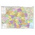 Romania. Harta administrativa si a principalelor cai de comunicatie - bilingv 160x120 cm