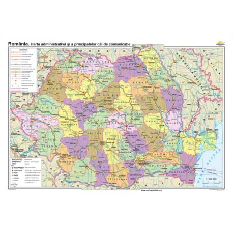 România. Harta administrativă şi a principalelor căi de comunicaţie - bilingv 160x120 cm