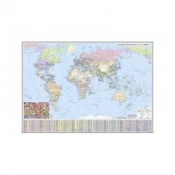 Harta politica a Lumii (fata) / Harta de contur (verso)