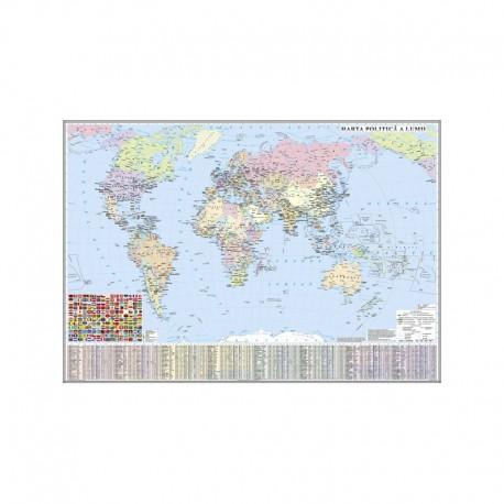 Harta politica a lumii (fata) Harta de contur (verso) 600x470mm