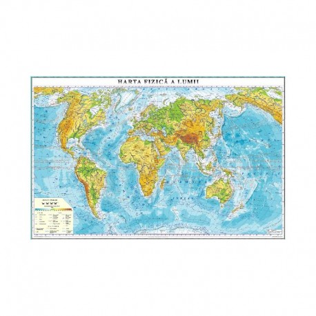 Lumea. Harta fizica( Fata) harta contur (verso) 600x470mm